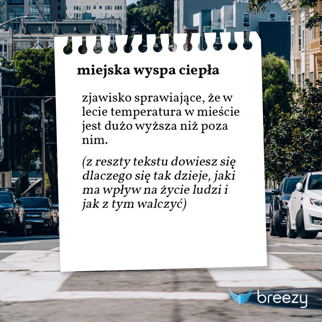 miejska wyspa ciepła - zjawisko sprawiające, że w lecie temperatura w mieście jest dużo wyższa niż poza nim. (z reszty tekstu dowiesz się dlaczego się tak dzieje, jaki ma wpływ na życie ludzi i jak z tym walczyć)